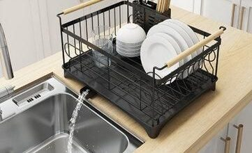 Stainless Steel Sink Dish Drying Rack Dish Cup Drainer Rack Kitchen Storage Shelf Rack Organizer Holder Drainer Shelf - Double Layer / Black