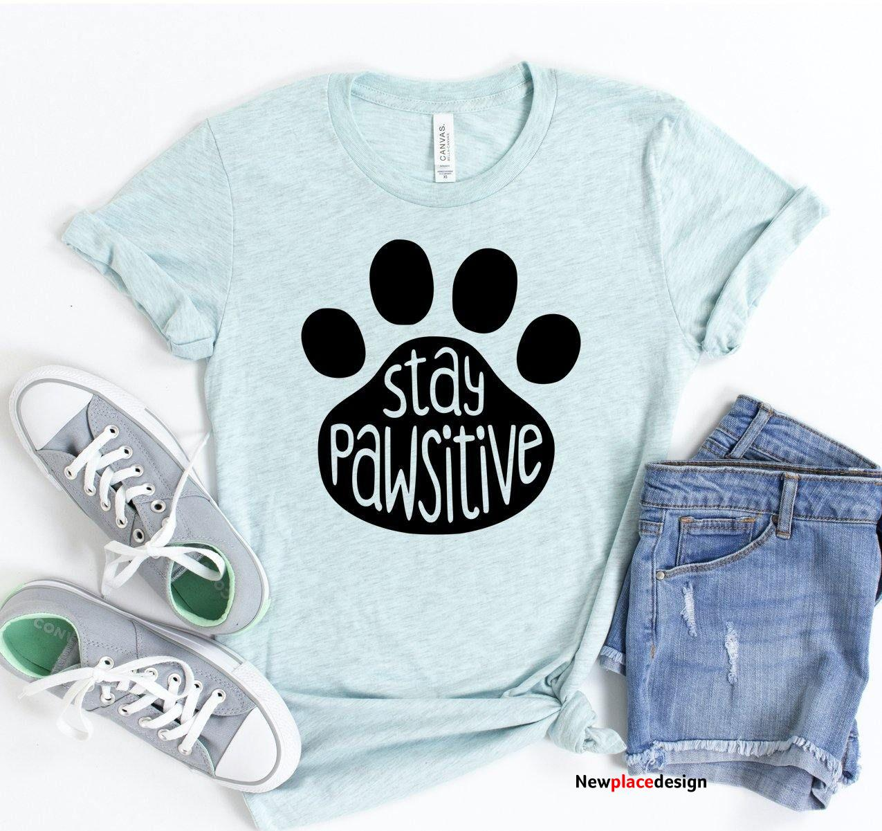 Stay Pawsitive T-Shirt - L / Heather Olive