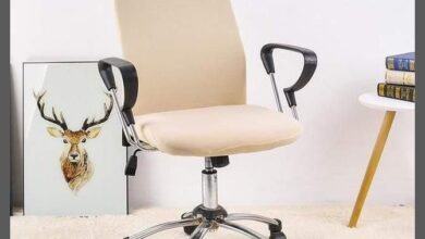 Stretch office chair covers | back covers - 2 pcs. - Beige
