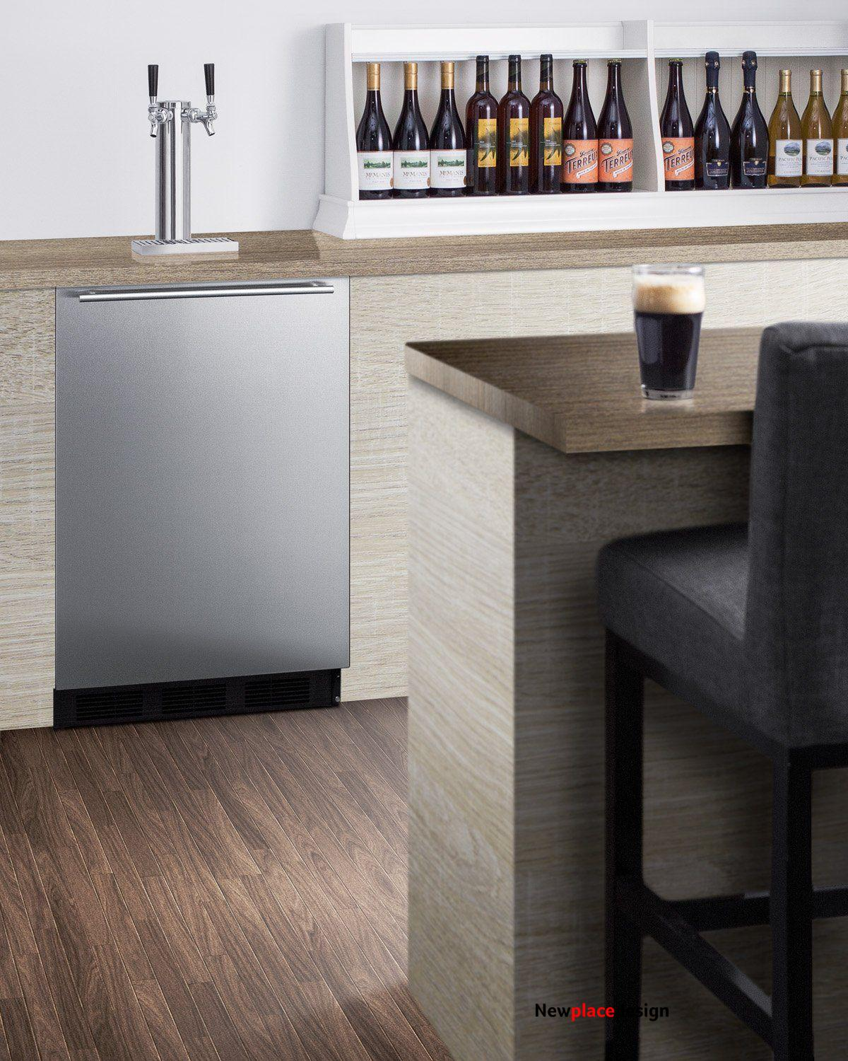 Summit Built-in undercounter kegerator with stainless steel wrapped door and black cabinet ADA height commercially listed dual tap beer dispenser SBC58BBIADA