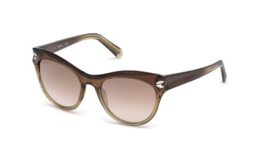 Swarovski SK0171 Cat Sunglasses - 51-18-140 / 47G-47G - Light Brown / Brown Mirror Lenses