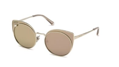 Swarovski SK0173 Cat Sunglasses - 61-20-140 / 28G-28G - Shiny Rose Gold / Brown Mirror Lenses
