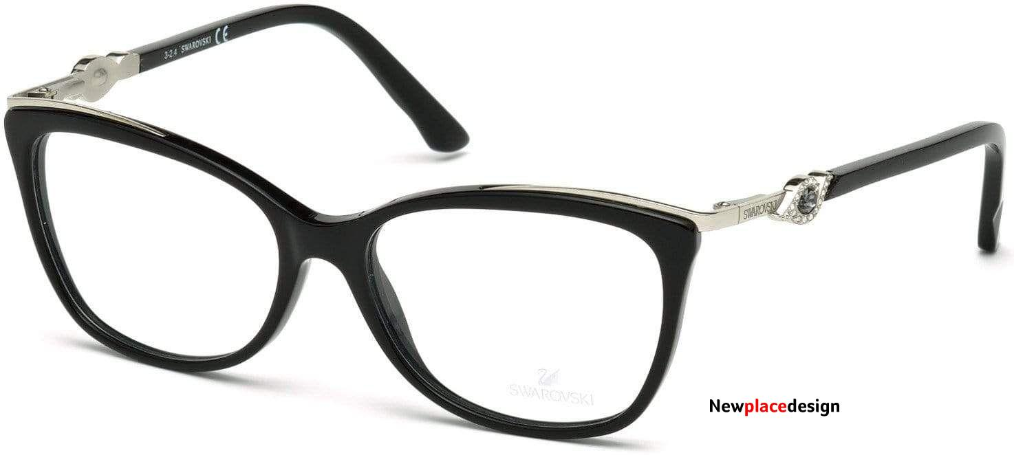 Swarovski SK5151 Faith Rectangular Eyeglasses - 53-15-135 / 001-001 - Shiny Black