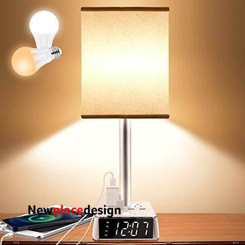 Table Lamp - Bedside Table Lamps with 4 USB Ports and AC Power Outlets, Alarm Clock Base w/ 6Ft Extension Cord, Square Oatmeal Fabric Lampshade Modern Accent Nightstand Lamps for Bedrooms Living Room - White