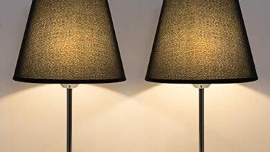 Table Lamps Bedside Modern Nightstand Lamps Set of 2 Black/Silver