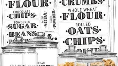 Talented Kitchen 154 Farmhouse Pantry Labels – 154 Kitchen Pantry Names – Food Stickers, Water Resistant Pantry Labels for Containers, Jar Labels Pantry Organization and Storage (154 Farmhouse Pantry) - Black Letters on Clear Background