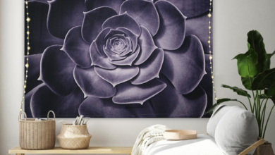 """Tapestry Wall Hanging with LED Lights - Bohemian Floral Wall Hanging Art Décor; Large Purple Flower-Kaisha Tapestry (79""""x59"""")"""
