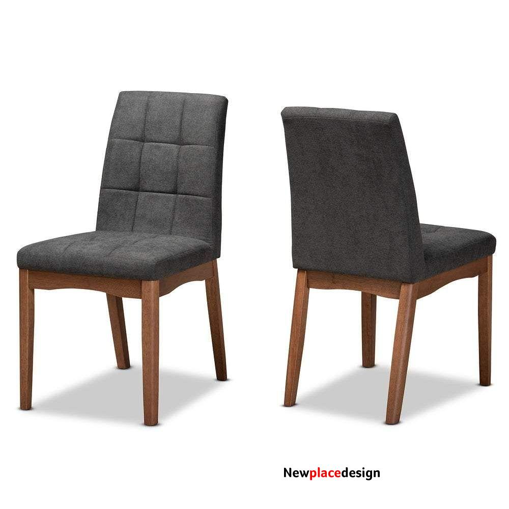 Tara Mid-Century Upholstered and Walnut Finished 2-PC Dining Chair Set - Charcoal