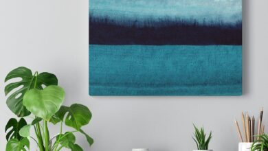 Teal Abstract Canvas Watercolor Wall Art - 16″ × 12″ / Premium Gallery Wraps (1.25″)