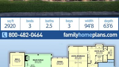 Texas Ranch House Plans with 2920 Sq Ft, 3 Bedrooms, 2.5 Bathrooms and a Spacious 3 Car Garage