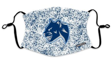 The New School Cougars Blue Splatter Face Mask - Adult
