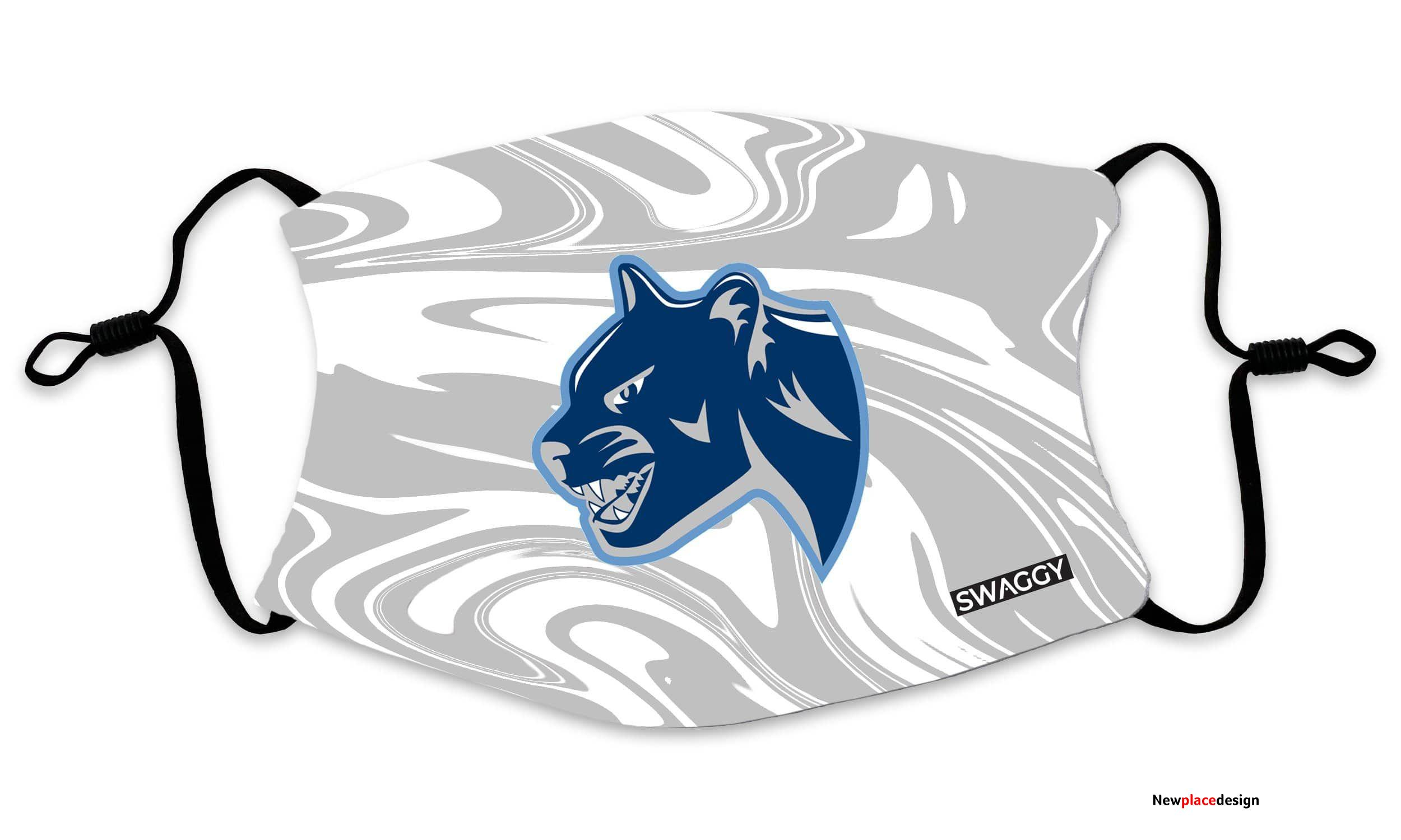 The New School Cougars Grey Liquid Face Mask - Youth