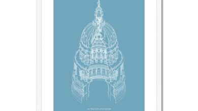 The Texas State Capitol Building - Dome Axonometric Cross Section - Blue -  Framed & Mounted Print - 24x32 / White Frame