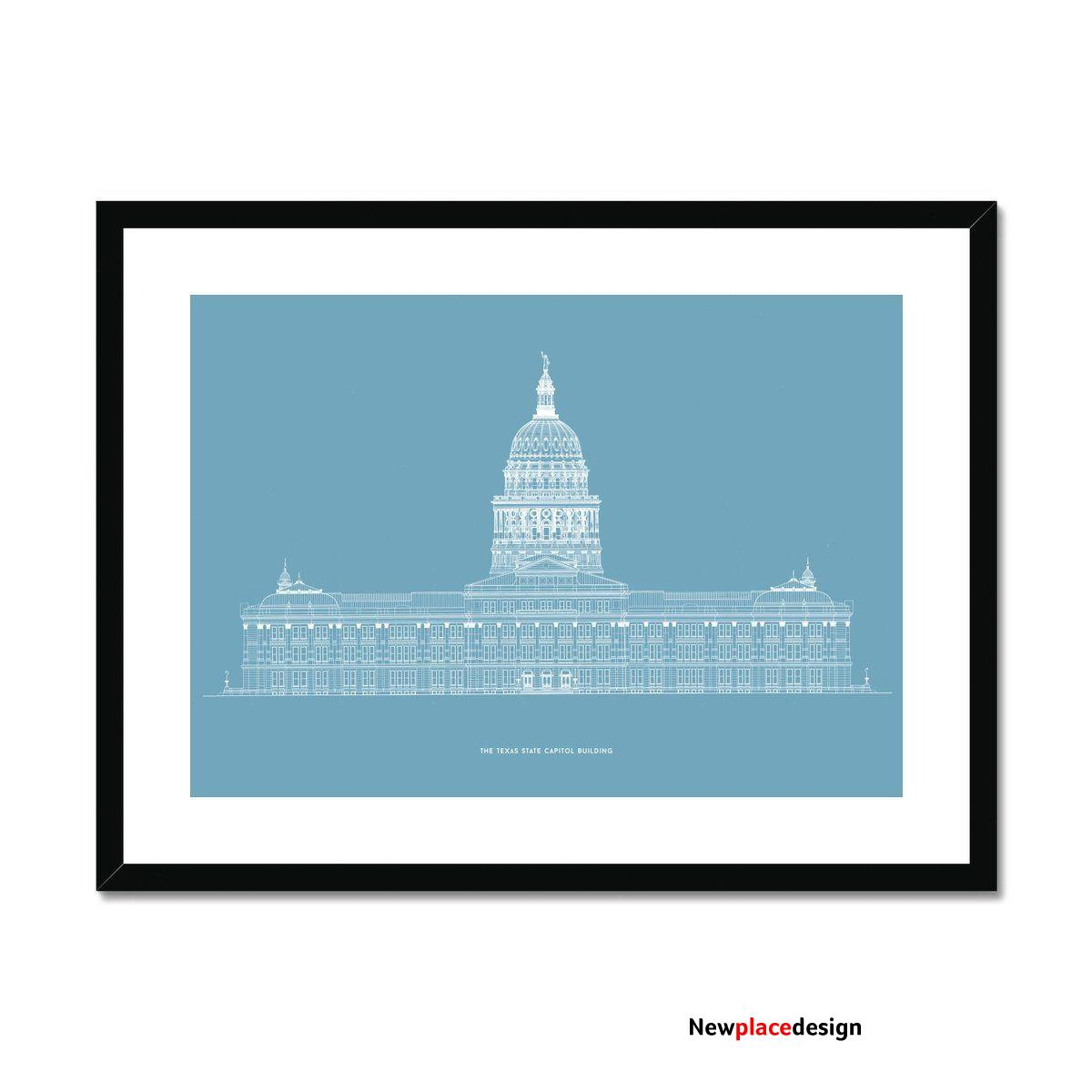 The Texas State Capitol Building - North Elevation - Blue - Framed & Mounted Print - 32x24 / Black Frame