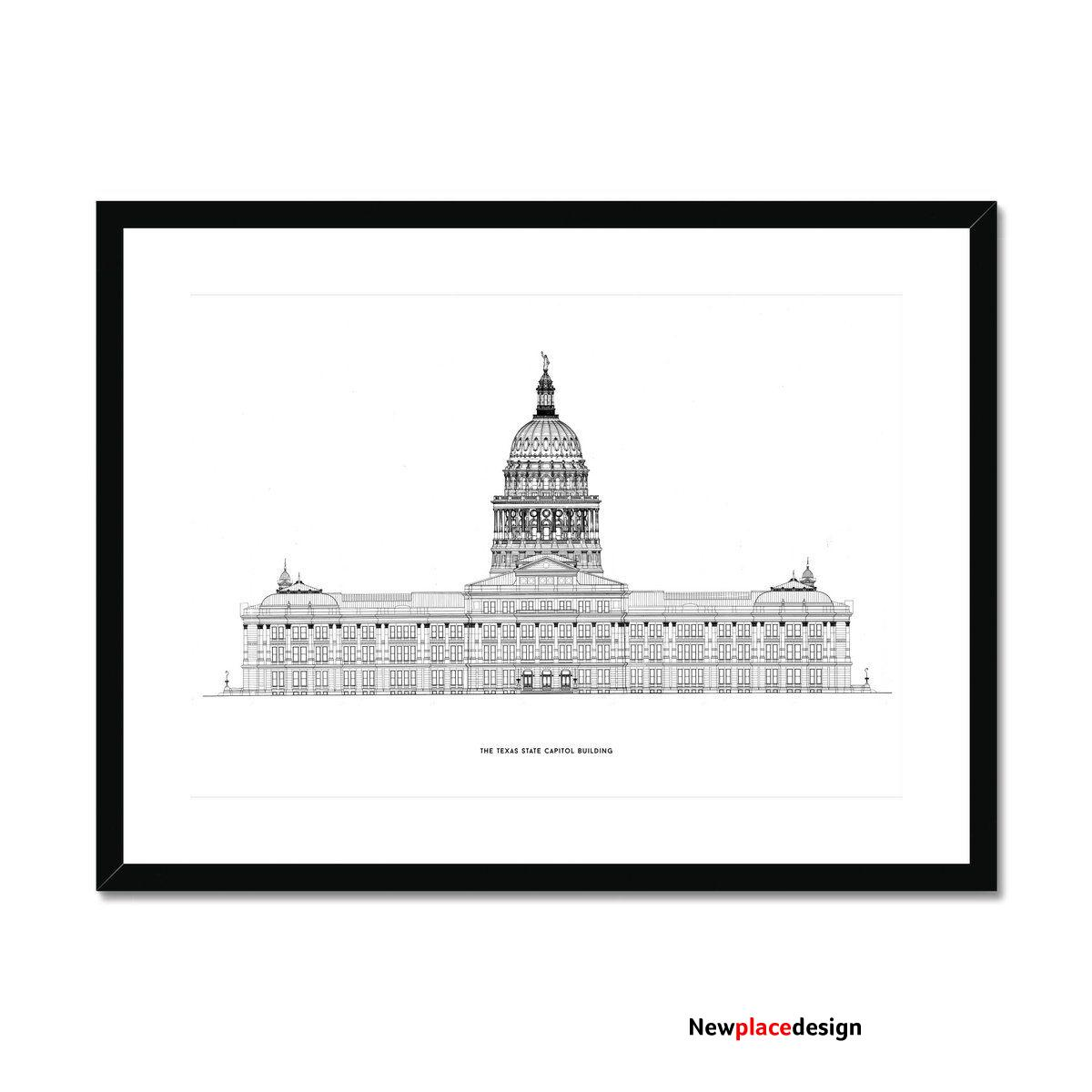 The Texas State Capitol Building - North Elevation - White - Framed & Mounted Print - 16x12 / Black Frame