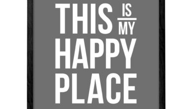 This is our happy place. Grey typography print - This is my happy place / 18 x 24
