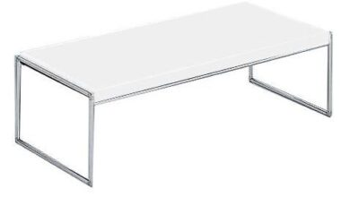 Trays Side Table - White / Large Rectangle Table