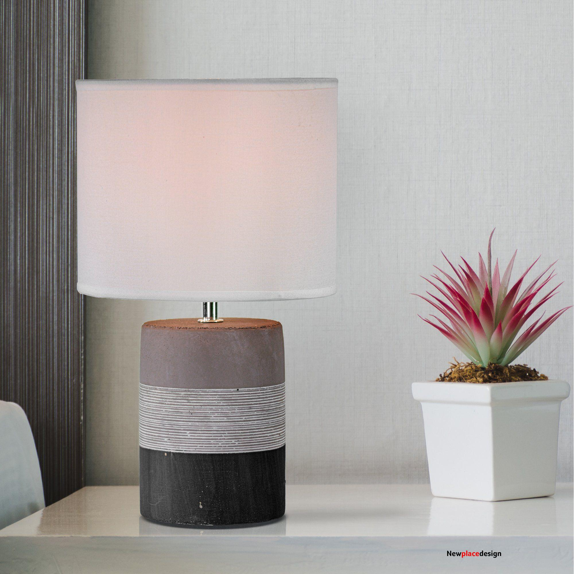 """Tri-Tone Concrete Table Lamp with Canvas Shade (13.25"""")"""