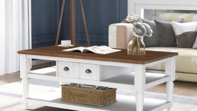 U-style Mordern Coffee Table with 1 Drawer, 1 Shelf  and Metal Knobs