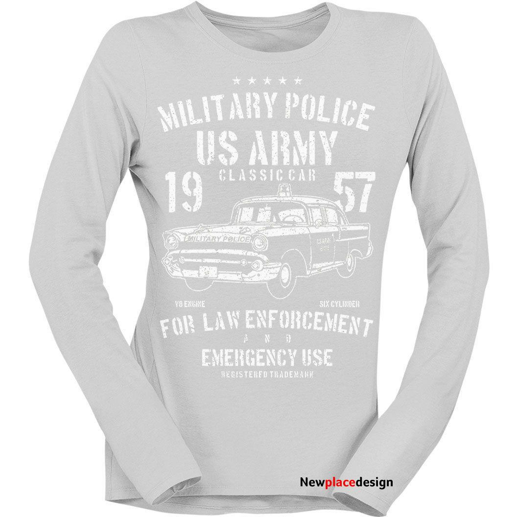 US Army Military Police Womens Long Sleeve T-Shirt - M (Size 12) / Light Grey / Womens Long Sleeve T-Shirt