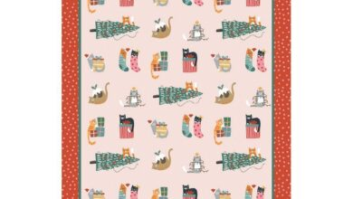 Ulster Weavers Cotton Tea Towel - Christmas Cats (100% Cotton, Red)