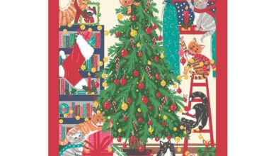 Ulster Weavers Cotton Tea Towel - Christmas Tree (100% Cotton, Red)