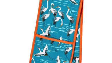 Ulster Weavers Double Oven Glove - Cranes (100% Cotton Outer; 100% Polyester wadding; CE marked, Blue)