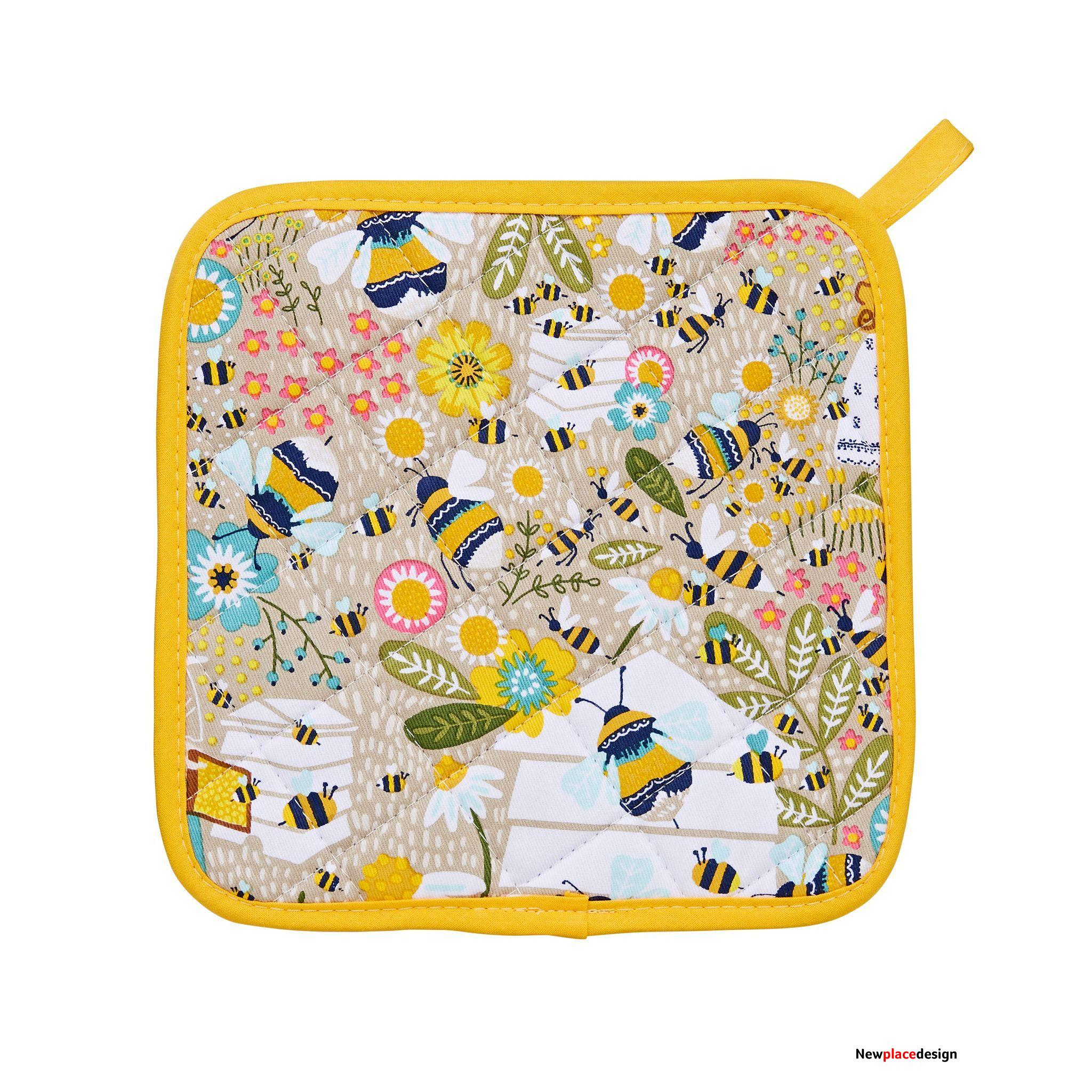 Ulster Weavers Heat Resistant Pot Mat - Bee Keeper (100% Cotton Outer; 100% Polyester wadding; CE marked, Yellow)