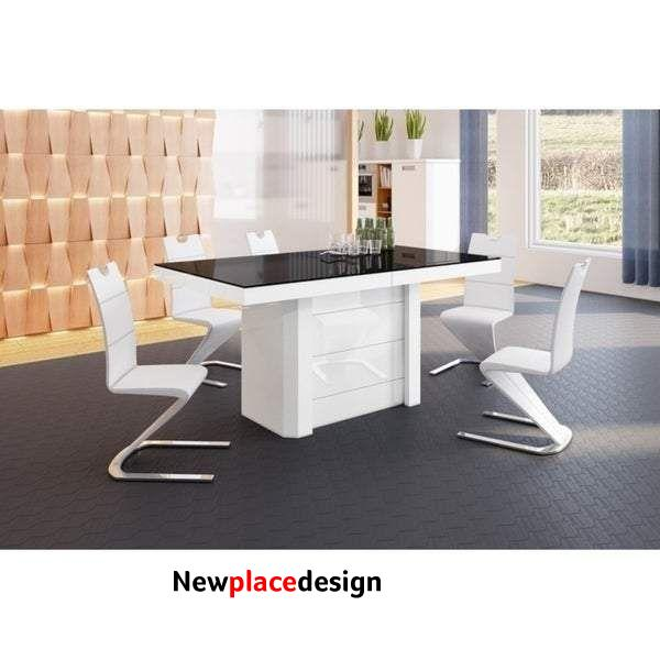 VOLOS Extendable Dining Table - Black/White