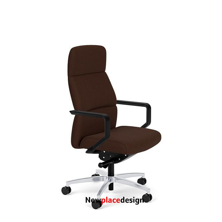 Vero High Back Office Chair - Cocoa / Fixed Arms / Polished Aluminum