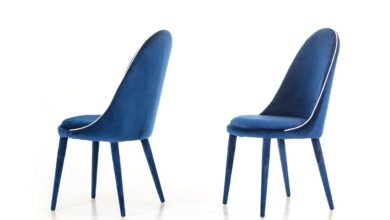 Vig Furniture Klamath - Modern Blue & White Fabric Dining Chair (Set of 2)