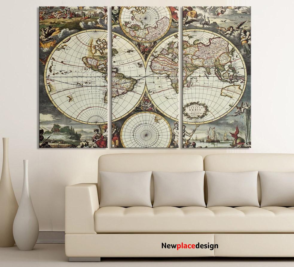 """Vintage World Map Canvas Print For Interior Design Home and Office Design Large World Map - Each Panel: 16x32"""" / Black and White"""