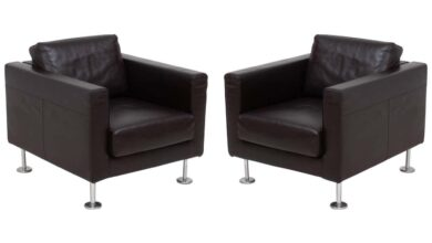 Vitra by Jasper Morrison, Park Brown Leather Armchair, Set of 2