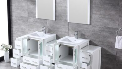 """Volez 84"""" White Double Vanity w/ 3 Side Cabinets 