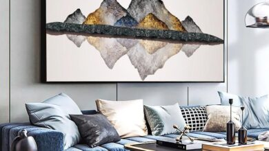 WANGART Large Size Golden Mountain Stone Abstract Canvas Paintings Print  Poster Oil Painting For Living Room modern home - 20x40cm no frame