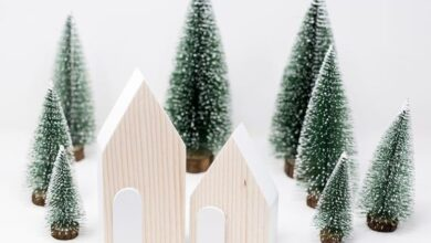 WOODEN HOUSES,  Decorative Wooden  White and wood house decoration (Set of Two) Reclaimed wood