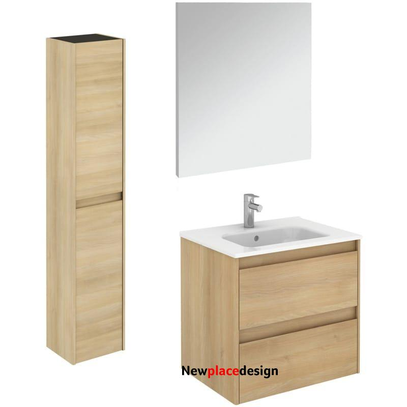 """WS Bath Collections Ambra 60 Pack 2 Ambra 24"""" Single Vanity Set with Engineered Wood Cabinet Ceramic Vanity Top with Integrated Sink Mirror and"""