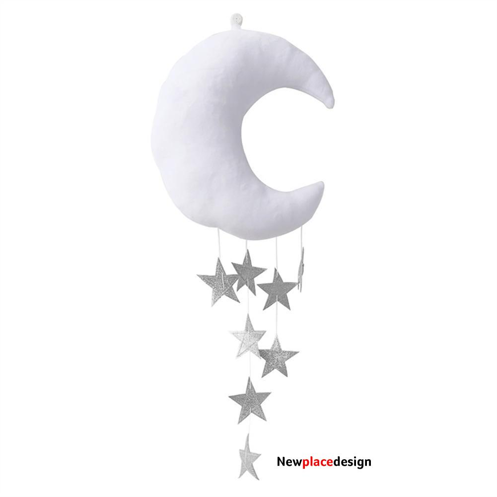 Wall Backdrop Children Room Hanging Moon Stars Stuffed Decor for Baby Bedroom - White add Silver