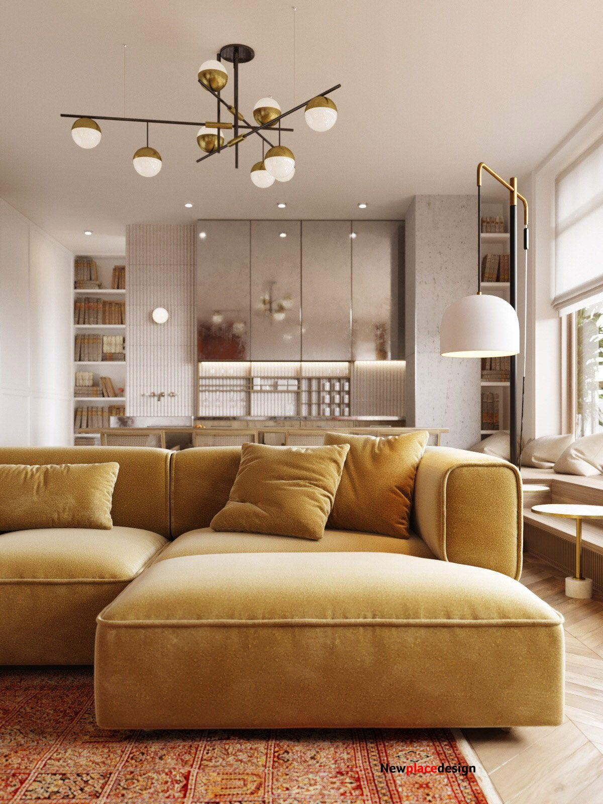 Warm decor idea with sand toned couch, red &orange carpet and flush-mount gold white & black fixture