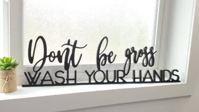 """Wash Your Hands Wood Sign - 6.5"""" x 23"""" / Black"""