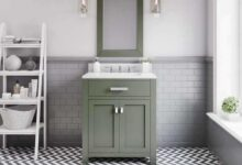 Water Creation  Madison 30 In. Single Sink Carrara White Marble Countertop Vanity in Glacial Green with Mirror