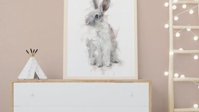 Watercolor woodland Bunny Print. Woodland Nursery decor. Forest Animals decor. Bunny rabbit art. Gen