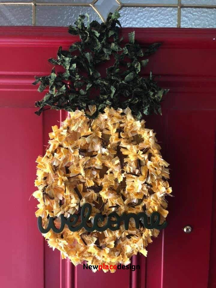 Welcome pineapple rag wreath
