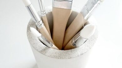 White concrete pot, Pencil holder, Concrete planter, Cement pen holder, Toothbrush holder, Storage p