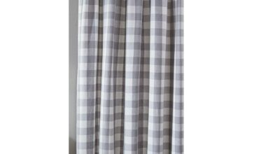 "Wicklow Dove Gray, Winter White Check Fabric Shower Curtain 72"" x 72"" Park Designs"