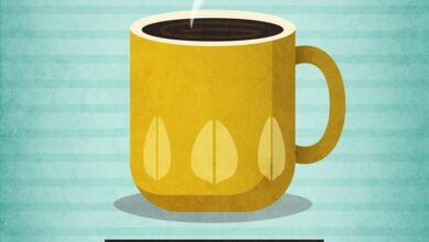 With enough coffee nothing is impossible. Mint print - Yellow mug / 18 x 24