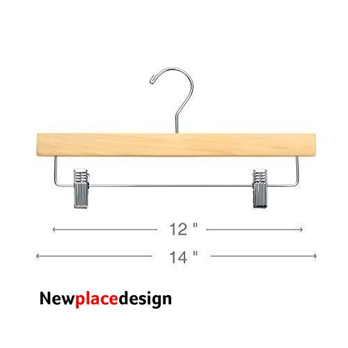 Wooden Bottom Hangers with Clips | Natural | 25 Pack