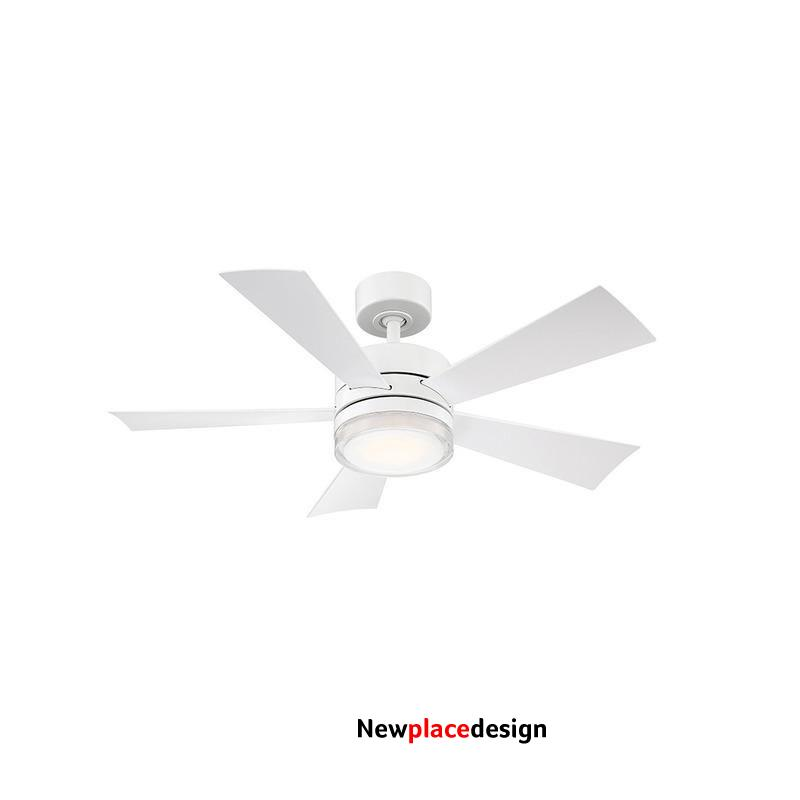 Wynd Indoor / Outdoor LED Smart Ceiling Fan - Matte White / 42 in blade span / 3000K / None