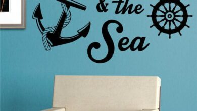 You Me and The Sea Quote Anchor Nautical Decal Sticker Wall Vinyl Art Decor - teal