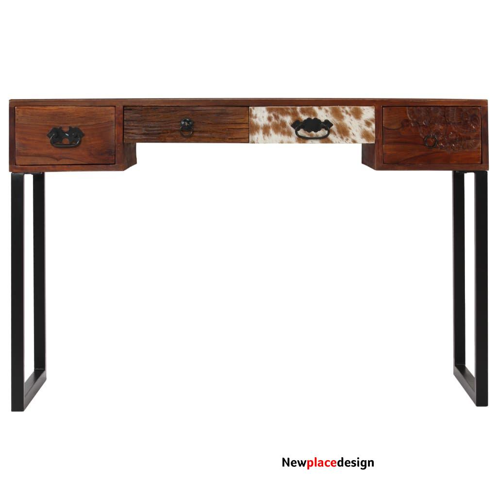 """ZUN Desk Solid Sheesham Wood and Real Leather 46""""x19.6""""x29.9"""" 244847"""